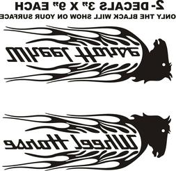 2- WHEEL HORSE HEAD FLAME TRACTOR DECALS --STICKERS FOR RIGH
