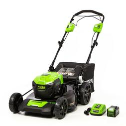 """Greenworks 21"""" 40V Self Propelled Mower 5Ah with Battery & Q"""