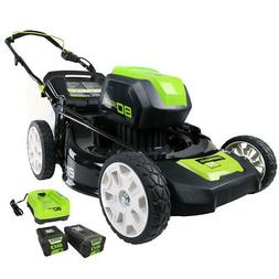 Greenworks PRO 21-Inch 80V Cordless Lawn Mower, Two 2.0AH Ba