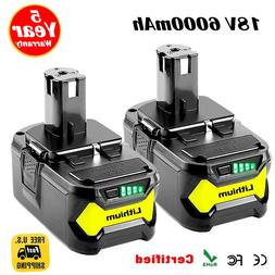 2XFor Ryobi P108 18V 6.0Ah Lithium Ion Battery Pack Replaces