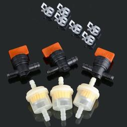 """3 Kit 1/4"""" In Line Fuel Gas Filter Shut Cut Off Valve Clamp"""