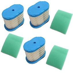 AISEN Pack of 3 Air Filter Plus 3 Pre-Filter for Briggs & St