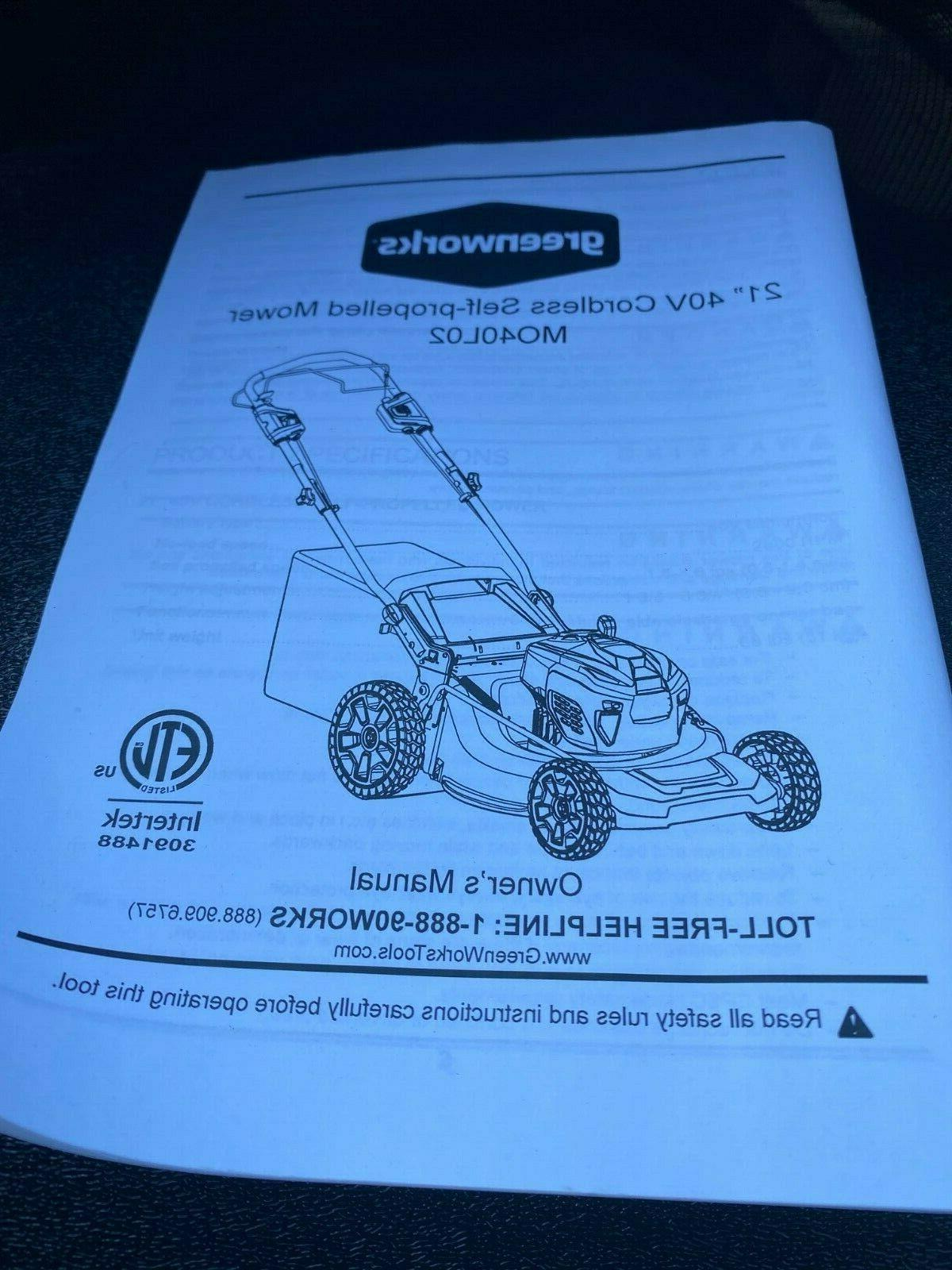 Greenworks 40V Cordless Lawn MO40L02 Tool Only