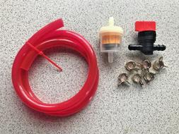 Riding Mower Red Translucent Fuel Line Kit, Red Fuel Filter,